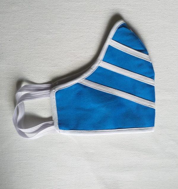 Masque de protection bleu avec des lignes blanches