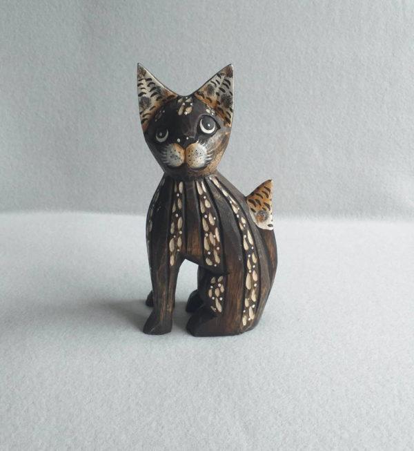 Statuette de chat africain en bois