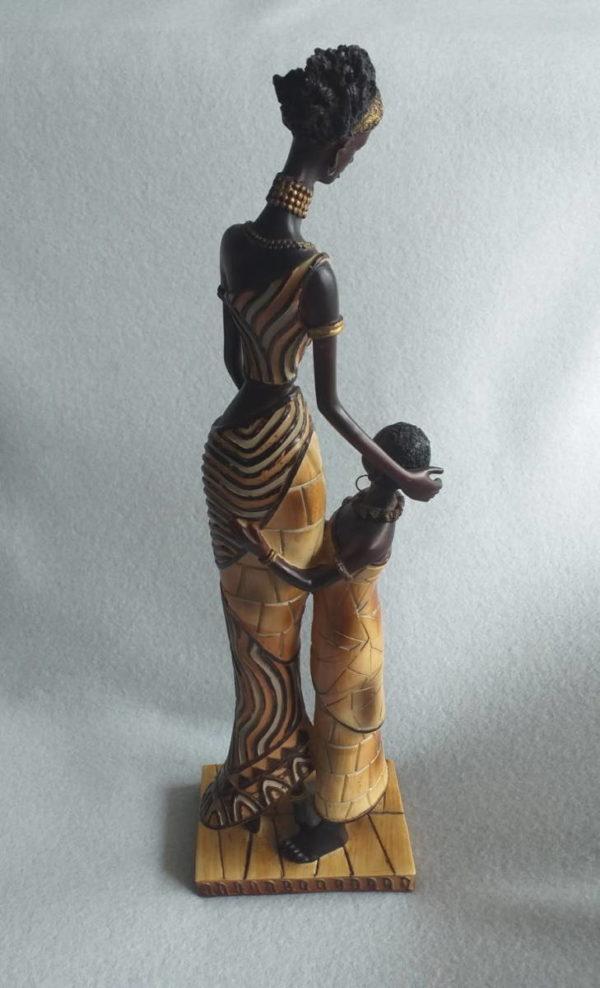 Statuette femme africaine et son enfant