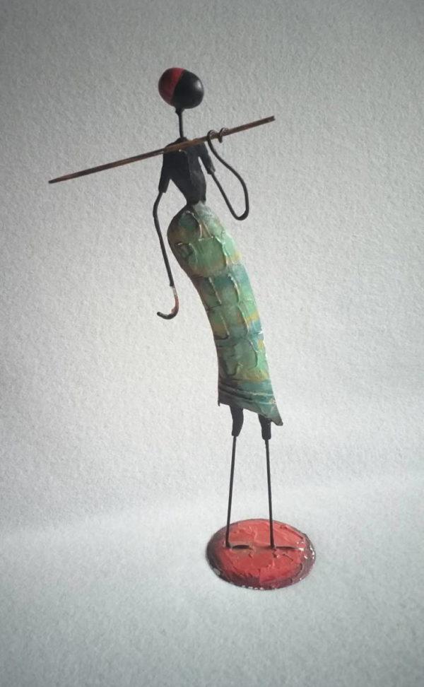 Statuette guerrier africain en métal