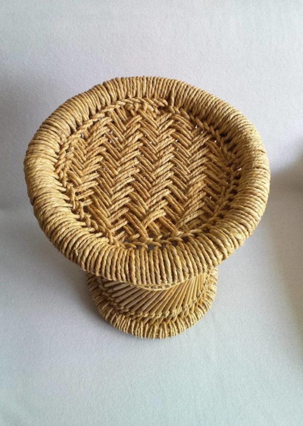 Tabouret déco en bambou et corde tressée