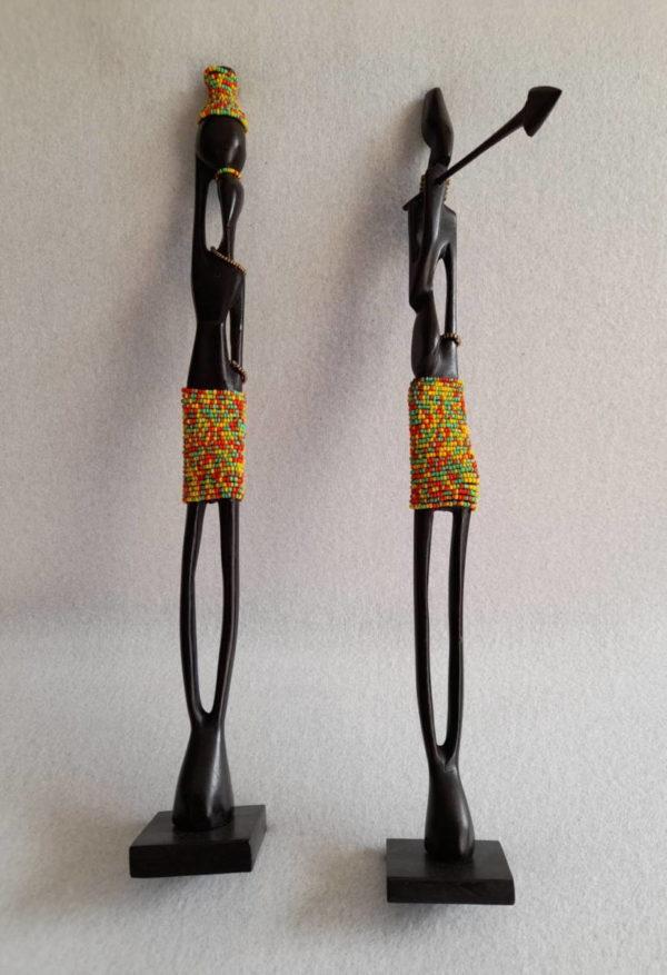 Couple de statuettes africaines en bois d'ébène